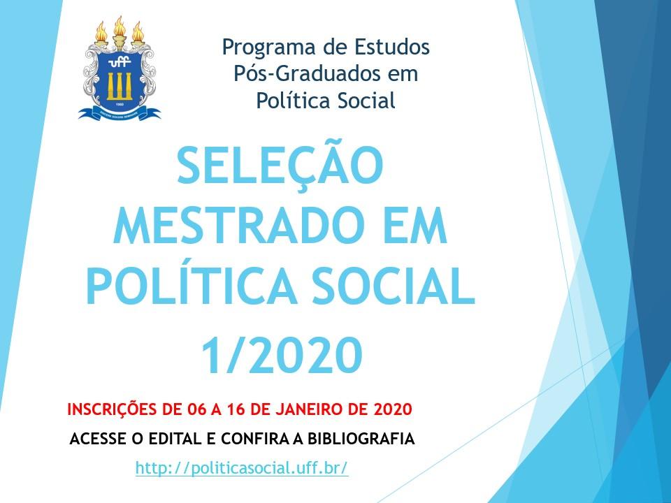 Edital Mestrado 1/2020